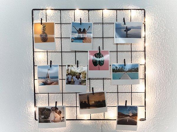 Memory Board 40x40cm + 10 Fotos Polaroids + 10 pregadores + LED