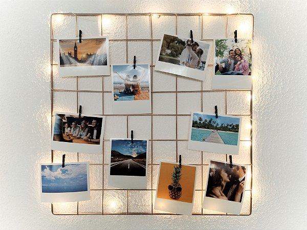 KIT ÔNIX (Fio Fada Led + Memory Board 40 x 40 ROSE GOLD + 10 fotos + 10 pregadores)
