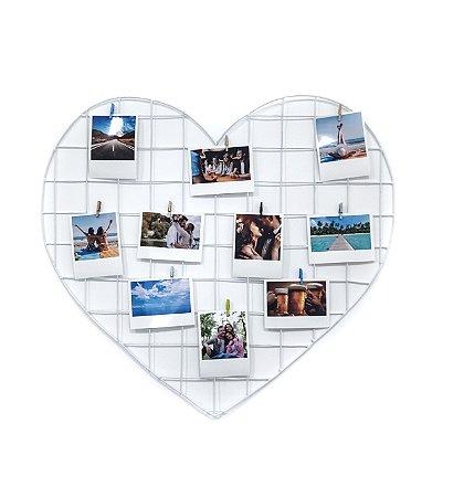 KIT CRISTAL (Memory Board Coração 55 x 52 + 10 fotos + 10 Pregadores)