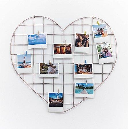 KIT AQUARITA (Memory Board Coração 55 x 52 Rose Gold + 10 fotos + 10 pregadores)