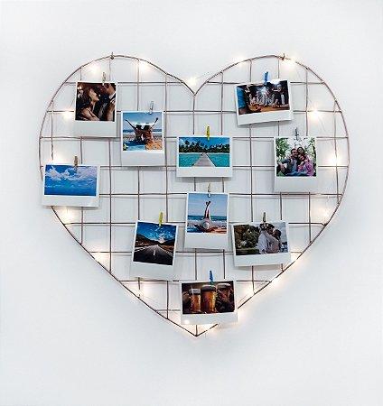 KIT MADRE PÉROLA (Fio Fada Led + Memory Board Coração 55 x 52 Rose Gold + 10 fotos + 10 pregadores)