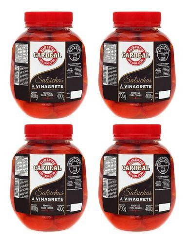 4 Potes De Salsicha Em Conserva De Vinagrete Cardeal 700g