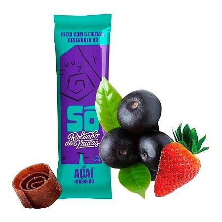Snack Vegano - 3 Rolinhos de Frutas - Açai e Morango 20g