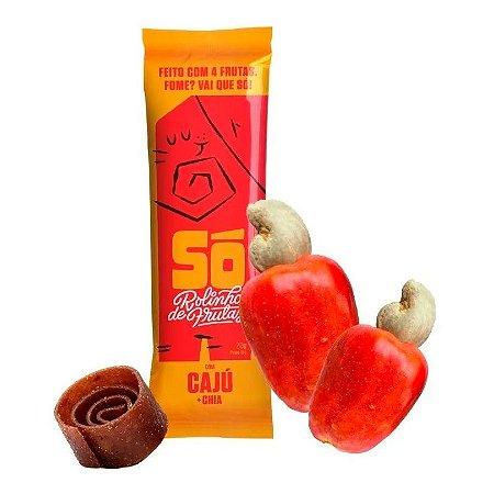 Snack Vegano - 3 Rolinhos de Frutas - Cajú e Chia