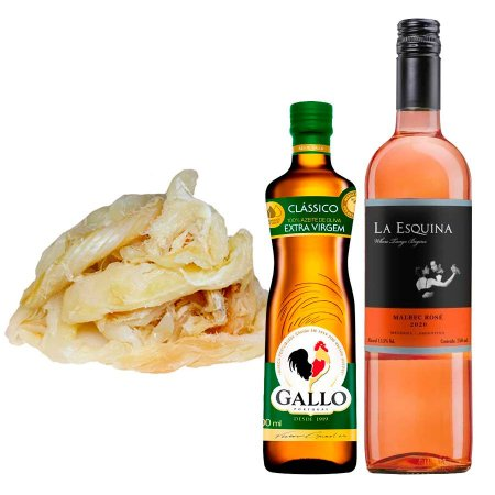 Kit Páscoa 3: Lascas de Bacalhau + Azeite Português + Vinho Rosé