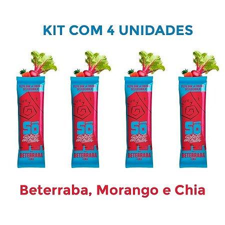 4 Snacks Vegano Rolinho de Frutas Beterraba, Morango e Chia