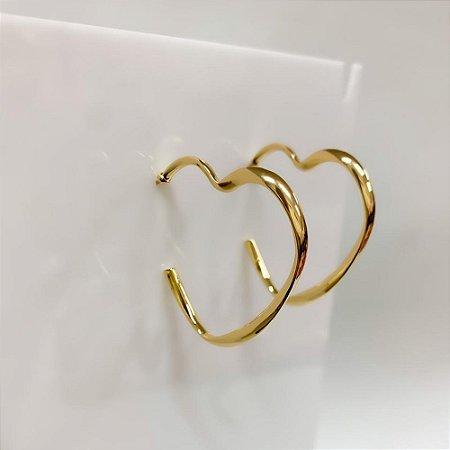 Brinco de Coração Dourado Thais