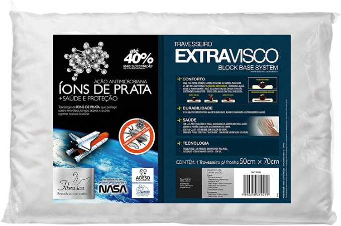 Travesseiro Extravisco com Íons de Prata 50cm x 70cm - Fibrasca