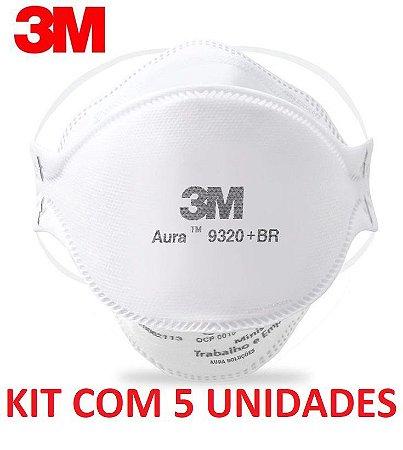 Máscara Hospitalar Descartável sem Válvula PFF2 Aura 9320+BR Kit c/5 unidades - 3M