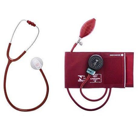 Kit Aparelho de Pressão Arterial Adulto e Estetoscópio Duplo Vinho - BIC