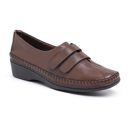 Sapato Feminino Em Couro Legitimo Comfort - Ref. 1201 Castor