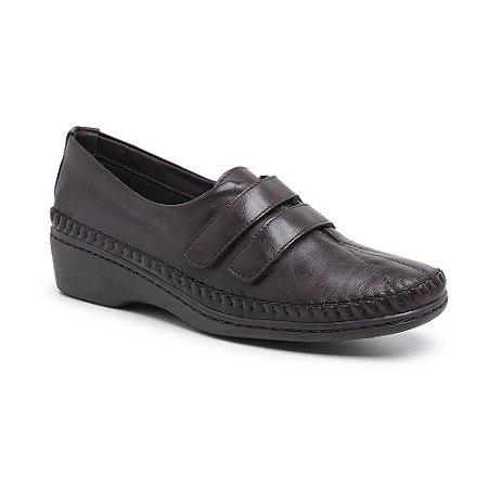 Sapato Feminino Em Couro Legitimo Comfort - Ref. 1201 Café
