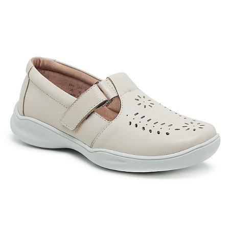 Sapato Feminino De Couro Legítimo Linha Comfort - Jasmim Creme
