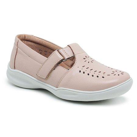 Sapato Feminino De Couro Legítimo Linha Comfort - Jasmim Nude