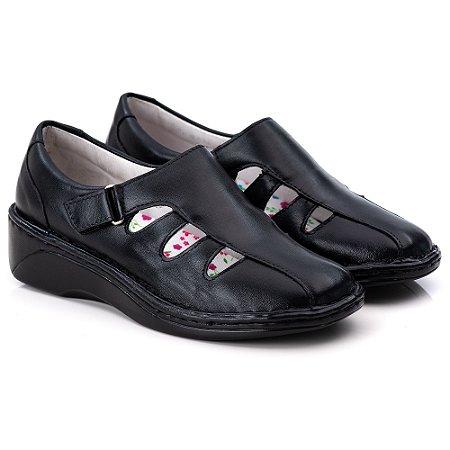 Sapato Feminino De Couro Legitimo Comfort - Ref. F230 Preta