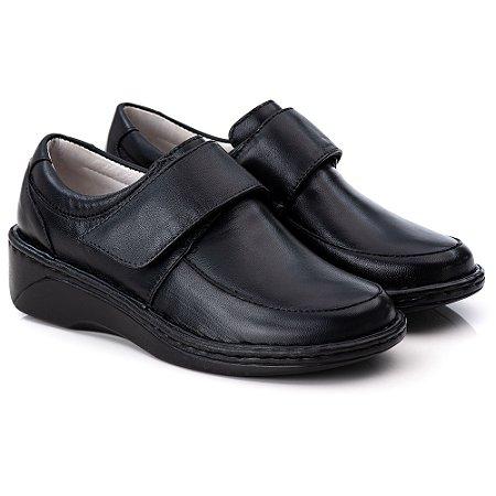 Sapato Feminino De Couro Legitimo Comfort - Ref. F220 Preta