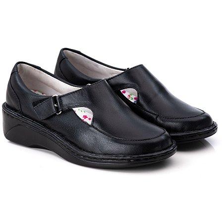 Sapato Feminino De Couro Legitimo Comfort - Ref. F210 Preto