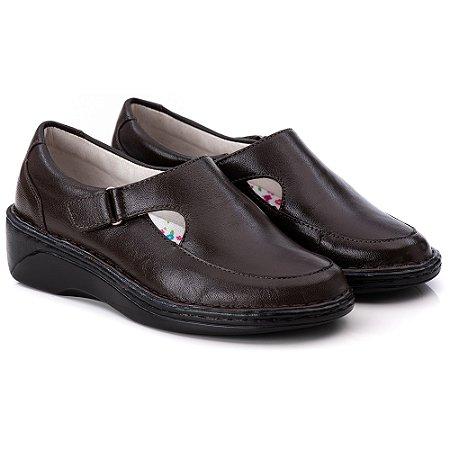 Sapato Feminino De Couro Legitimo Comfort - Ref. F210 Café