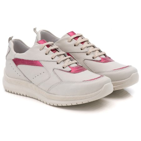 Tênis Feminino Chunky De Couro Legitimo - Ref. 210 Gelo/Pink