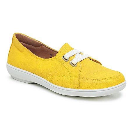 Sapatilha Feminina Confortável Em Lona - Lótus Amarela