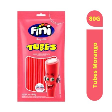 Bala Tubes Morango 80g - Fini