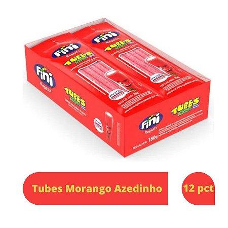 Bala Tubes Morango Azedinho com 12 unid de 15g cada - Fini