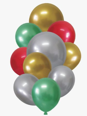 Balão Bexiga Natal Alumínio Sortido - 10 unidades