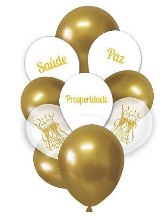 Balão Bexiga Ano Novo - Sortido - 10 unid