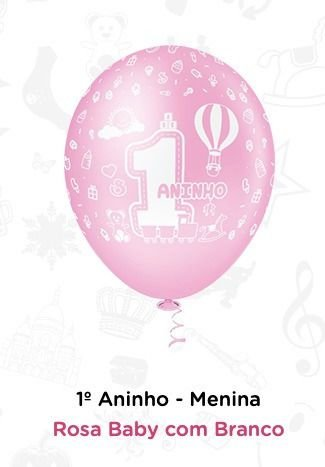Balão Bexiga 1 Ano - Menina N10 - 25 Unid - Pic Pic
