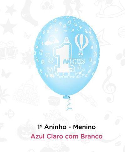 Balão Bexiga 1 Ano - Menino N10 - 25 Unid - Pic Pic