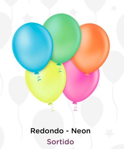 Balão Bexiga Neon Sortido N5 - 50 Unid - Pic Pic