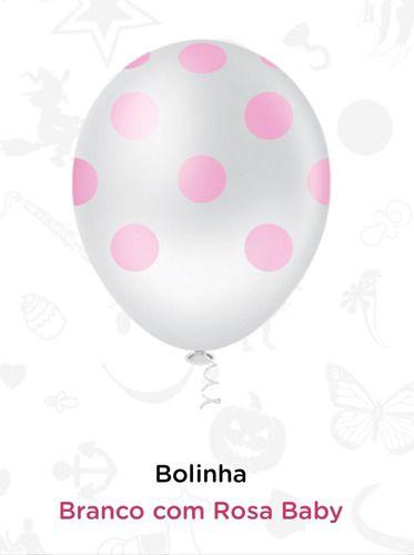 Balão Bexiga Bolinhas Branco Com Rosa - 25 Unid - Pic Pic