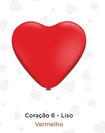 Balão Bexiga Coração Vermelho Liso 6 - 50uni