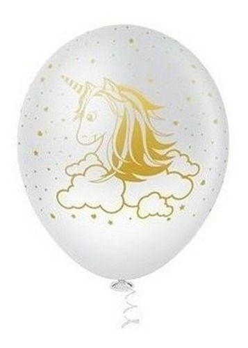 Balão Bexiga Unicórnio Branco Com Dourado - 25 Uni