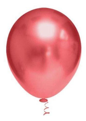 Balão Bexiga Metalizado Platino Vermelho 5 - 25uni