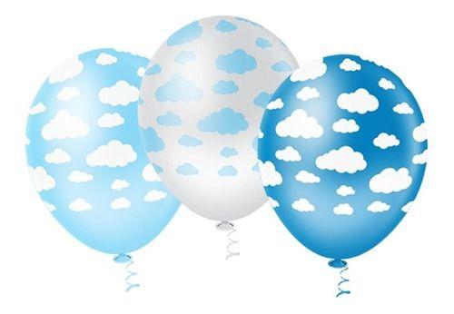 Balão Bexiga Nuvem Azul E Branco Sortidos Nº10 - 25 Uni