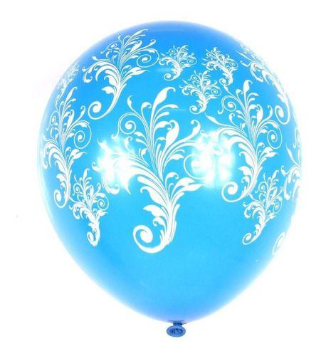 Balão Bexiga Azul Tiffany Com Branco 10 - 25uni