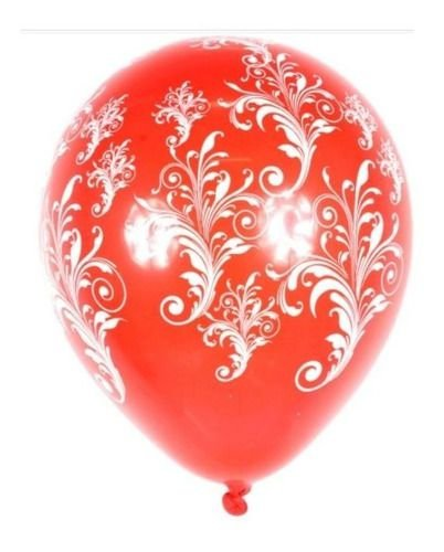 Balão Bexiga Arabesco Vermelho C/ Branco 10 - 25uni
