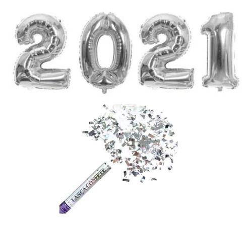 Balão Numeros 2021 75cm + Lança Confete Ano Novo
