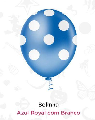 Balão Bexiga Bolinha Azul Com Branco - 25 Unid - Pic Pic