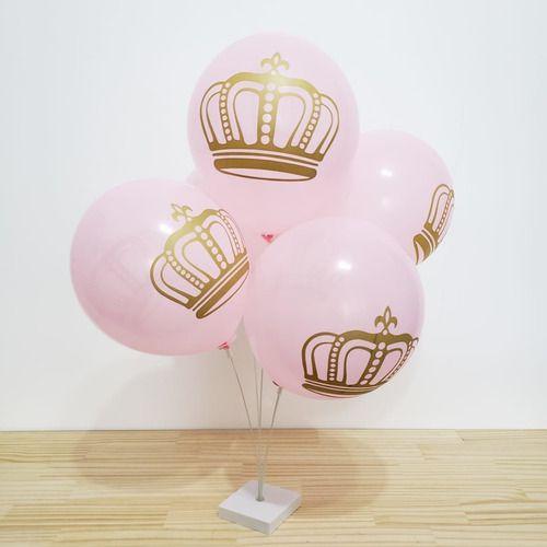 Balão Bexiga Coroa Rosa Com Dourado - 25 Uni