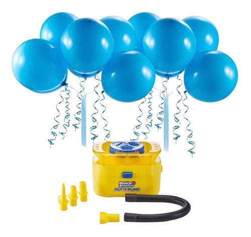 Inflador De Balões C/16 Balões Azul C/ Adaptador