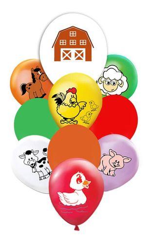Balão - Bexiga - Kit Buquê Fazendinha - 10 Unidades