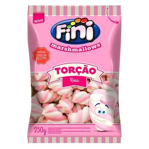 Marshmallow torcao rosa 250g - Fini