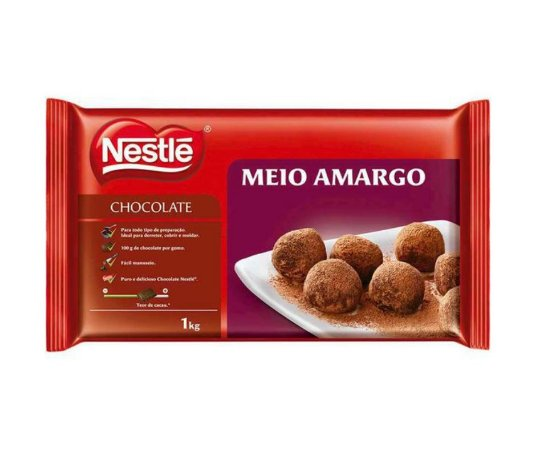 Cobertura Chocolate Nestle Meio Amargo  - Barra 1kg