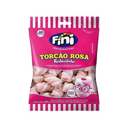 Marshmallow Recheadinho Torção Rosa 250g - Fini