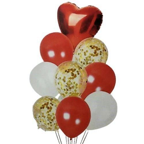 Balão Buquê Coração Vermelho e Dourado - 9 Unidades
