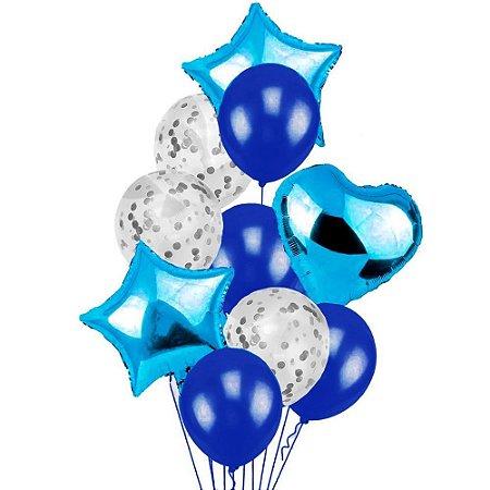Balao Buque Estrela Azul e Prata - 9 Unidades