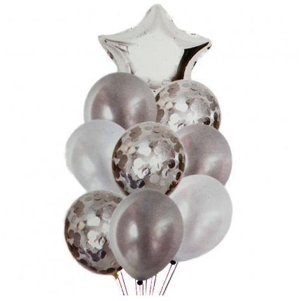 Balão Buquê Estrela Prata - 9 Unidades
