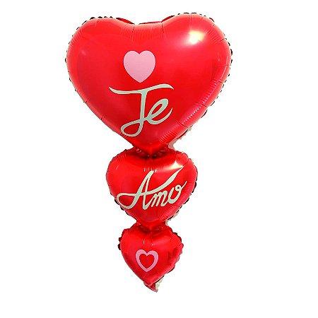 Balão Coração Te Amo Metalizado - 1 Unid